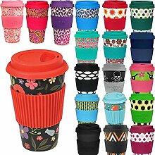 LS Design Öko Cup 400ml Coffee to Go Becher Silikonring Travel Mug BPA frei Schwarz Blumen