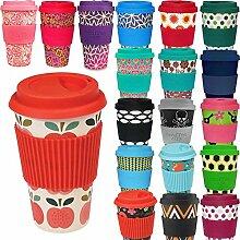 LS Design Öko Cup 400ml Coffee to Go Becher Silikonring Travel Mug BPA frei Vintage Apple