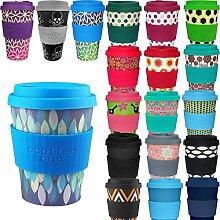 LS Design Öko Ecoffee Cup 355ml Coffee to Go Becher Silikonring Travel Mug Blau Raute