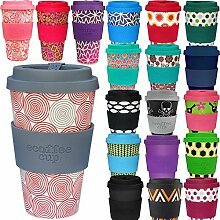 LS Design Öko eCoffee Cup 400ml Coffee to Go Becher Silikonring Bamboo Bambus Swirl
