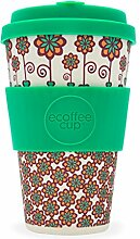 LS Design Öko eCoffee Cup 400ml Coffee to Go Becher Silikonring Bamboo Bambus Stockholm - Blumen