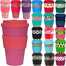 LS Design Öko eCoffee Cup 400ml Coffee to Go Becher Silikonring Bamboo Bambus Pink/Ro