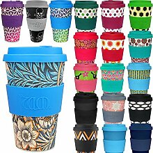 LS Design Öko eCoffee Cup 400ml Coffee to Go Becher Silikonring Bamboo Bambus Blumen Blau