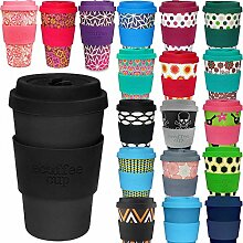 LS Design Öko eCoffee Cup 400ml Coffee to Go Becher Silikonring Bamboo Bambus Blackout - Black