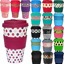LS Design Öko eCoffee Cup 400ml Coffee to Go Becher Silikonring Bamboo Bambus Pink Polka
