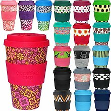 LS Design Öko eCoffee Cup 400ml Coffee to Go Becher Silikonring Bamboo Bambus Baby - Blume