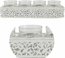 LS Design Ornament Kerzenschale Kerzenständer Kerzenhalter Kerzentablett Holz Metall Teelicht weiss