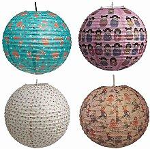 LS Design Papierlampenschirm Papierlampe Hängeleuchte Lampion Suki Pink