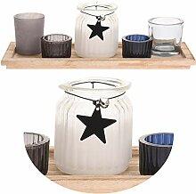 4x Glas Teelichthalter Windlicht Set Teelicht Teelichtgläser Stern Retro Athen