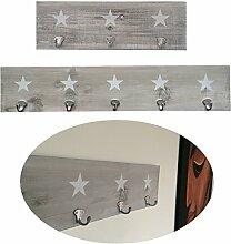 LS-LebenStil Holz Wand-Garderobe 5 Haken Stern