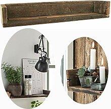 LS-LebenStil Holz Wand-Regal Ziegelform Braun 60cm