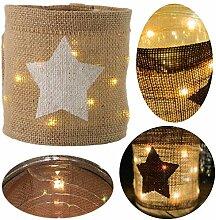 LS-LebenStil LED Glas Windlicht Stern 12cm Braun