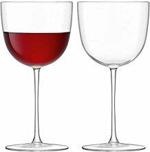 LSA International Olivia rot Weinglas, Glas, transparent, 310ml, Set von 2