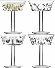 LSA International Tatra Champagner/Cocktail Glas 250 ml klar/verschiedene Schnitte X 4, klar, Set 4