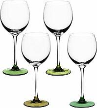 LSA LS 470325 Coro Weinglas, 400 ml, 4 Stück, grün, 8,69 x 8,69 x 20,5 cm