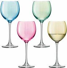 LSA Polka Weinglas, Pastellfarben, 4 Stück