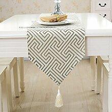 LSD-fubao Europäischen Einfache moderne Tisch Tischdecke Serviette Tuch streifen TV-Schrank Bed's Maze Weiß 32 X 160 Cm