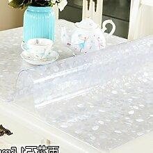 LSD-fubao PVC Tee tisch Matte soft Glas Kristall Platte Kunststoff Tabelle mat Tischwäsche Tischwäsche, Regen Blume Stein 1,5 mm, 70 x 140 cm