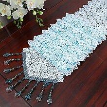 LSD-fubao Spitze der bestickte Bett Schrank Mahlzeit Hohle Net Gaze kunst Stickerei Tischdecke Tischläufer Serviette mehrere Tee, hellblau, 30 x 250 cm.