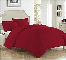 LSERVER Bettwäsche Set Einfache Bett Zubehör mit Reisverschluss Weiche und Knitterfreie Bettwäsche Garnitur,Weinrot,Twin
