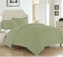 LSERVER Bettwäsche Set Einfache Bett Zubehör mit Reisverschluss Weiche und Knitterfreie Bettwäsche Garnitur,Grün,Queen