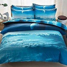 LSERVER Stern Himmel Bettwäsche Set Bettlacken Kissenbezug Bettbezug Bett Zubehör Natur Bild Bettbezüge ,7#,200*230 4 Stück