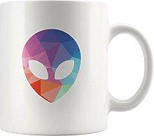 Lsjuee Alien Head Weiße Kaffeetasse UFO Alien