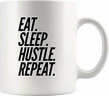 Lsjuee Hustler Geschenk Eat Sleep Hustle Repeat
