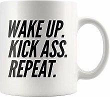 Lsjuee Keramikbecher Wake up Kick Ass Wiederholen