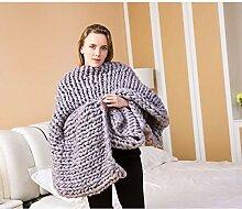 LSQ Nordische Dicke Wolle Handgewebte Decke