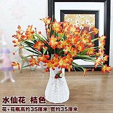 LSRHT Künstliche Blumen Grün Blumen Pflanzen Orchidee Gelb Romantische Bouquet Ideal für Home Decor Zimmer Garten Party Hochzeit anzeigen