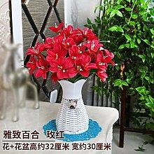 LSRHT Künstliche Blumen Grün Blumen Pflanzen Orchidee Rot Romantische Bouquet Ideal für Home Decor Zimmer Garten Party Hochzeit anzeigen