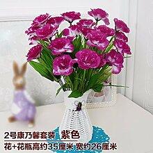 LSRHT Künstliche Blumen Grün Blumen Pflanzen Orchidee Violett Romantische Bouquet Ideal für Home Decor Zimmer Garten Party Hochzeit anzeigen