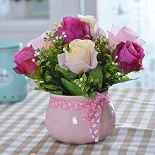 LSRHT Künstliche Blumen Keramik Vase rose rot