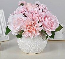 LSRHT Künstliche Blumen Moderne Seidenblumen Rosa Pink Romantische Bouquet Ideal für Home Decor Zimmer Garten Party Hochzeit anzeigen