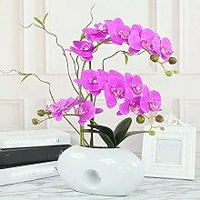 LSRHT Künstliche Blumen Orchidee moderne Keramik Vase Rosa Romantische Bouquet Ideal für Home Decor Zimmer Garten Party Hochzeit anzeigen