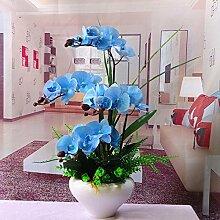LSRHT Künstliche Blumen Orchideen Bonsai Blau