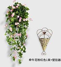 LSRHT Künstliche Blumen Pflanzen an der Wand montierten Korb rosa Romantische Bouquet Ideal für Home Decor Zimmer Garten Party Hochzeit anzeigen