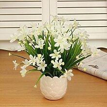 LSRHT Künstliche Blumen Pflanzen Orchidee Weiß Romantische Bouquet Ideal für Home Decor Zimmer Garten Party Hochzeit anzeigen