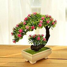 LSRHT Künstliche Blumen Pflanzen Topfpflanzen Kunststoff Pinie Rosa Romantische Bouquet Ideal für Home Decor Zimmer Garten Party Hochzeit anzeigen