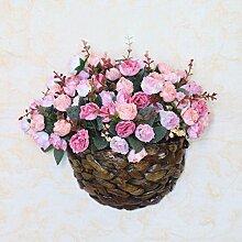 LSRHT Künstliche Blumen Rose an der Wand montierten Rosa Romantische Bouquet Ideal für Home Decor Zimmer Garten Party Hochzeit anzeigen