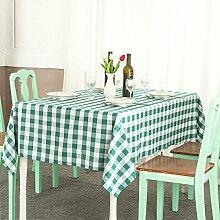 LTCGDB Rechteckig Gitter Pastoral Restaurant Party Waschbar Picknick Hochzeit Tischdecke,Green-120*140cm