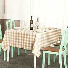 LTCGDB Rechteckig Gitter Pastoral Restaurant Party Waschbar Picknick Hochzeit Tischdecke,Khaki-120*140cm