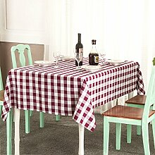 LTCGDB Rechteckig Gitter Pastoral Restaurant Party Waschbar Picknick Hochzeit Tischdecke,WineRed-140*140cm