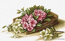 Luca-S Korb mit Blumen Kreuzstichset, Baumwolle,