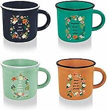 Luciano Housewares Keramikbecher mit Blumenmuster,
