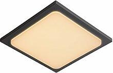 Lucide Oras -Deckenleuchte Außen -LED -1X20W 3000K -Ip54, Aluminium, Integriert, 20 W, Black, 25 x 25 x 4.9 cm