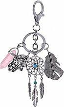 Lucklystar® Schlüsselanhänger key Chain die Böhmischer wind Anhänger Personalisiert Design Schlüsselhalter Geschenk für Frauen Männer Freundin(Rosa)