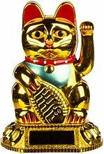 Lucky Cat Waving beweglichen Arm Solar Power Chinesische Oriental Fortune Gold Maneki Neko Feng Shui Geld Dekoration Geschenk