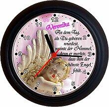 Lucky Clocks ENGEL ROSA TAUFE GEBURT schöne Wanduhr für jeden Anlass mit jeder Beschriftung und jedem Vornamen Namen erhältlich